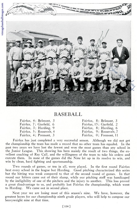 Yearbook photo of the 1927 Fairfax High baseball squad
