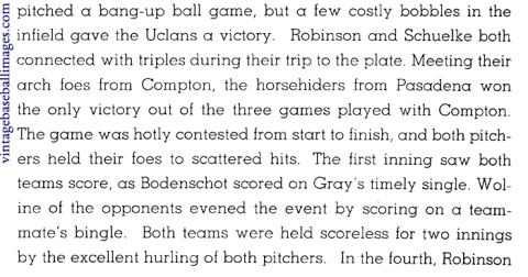 Text from the 1937 PCC yearbook baseball section mentioning a young Jackie Robinson's performance