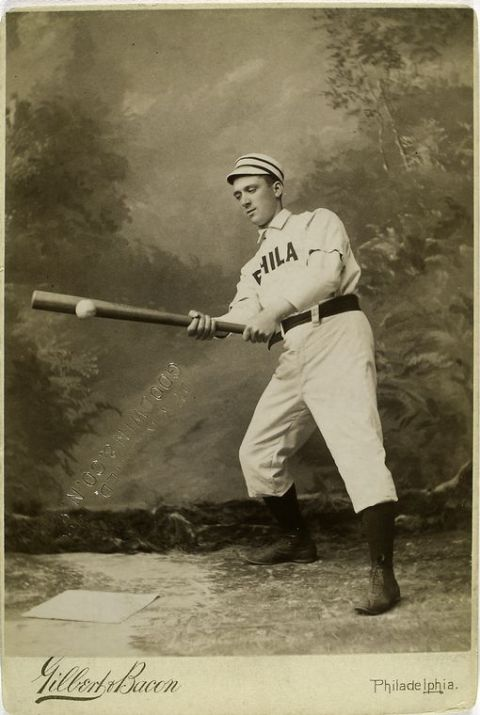 19th-century major league baseball player George Pinckney swings at a ball