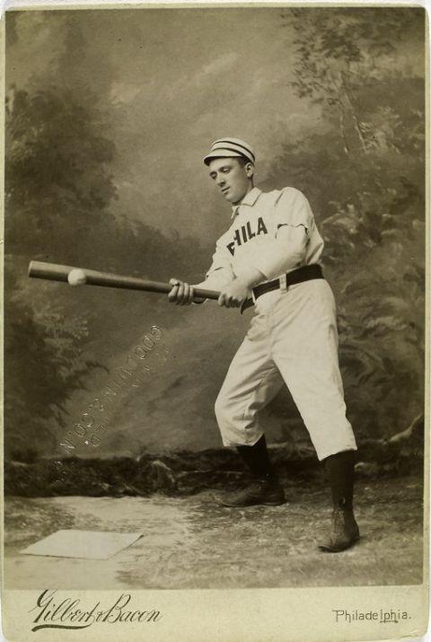 19th-century major league baseball player George Pinckney swings at a ball